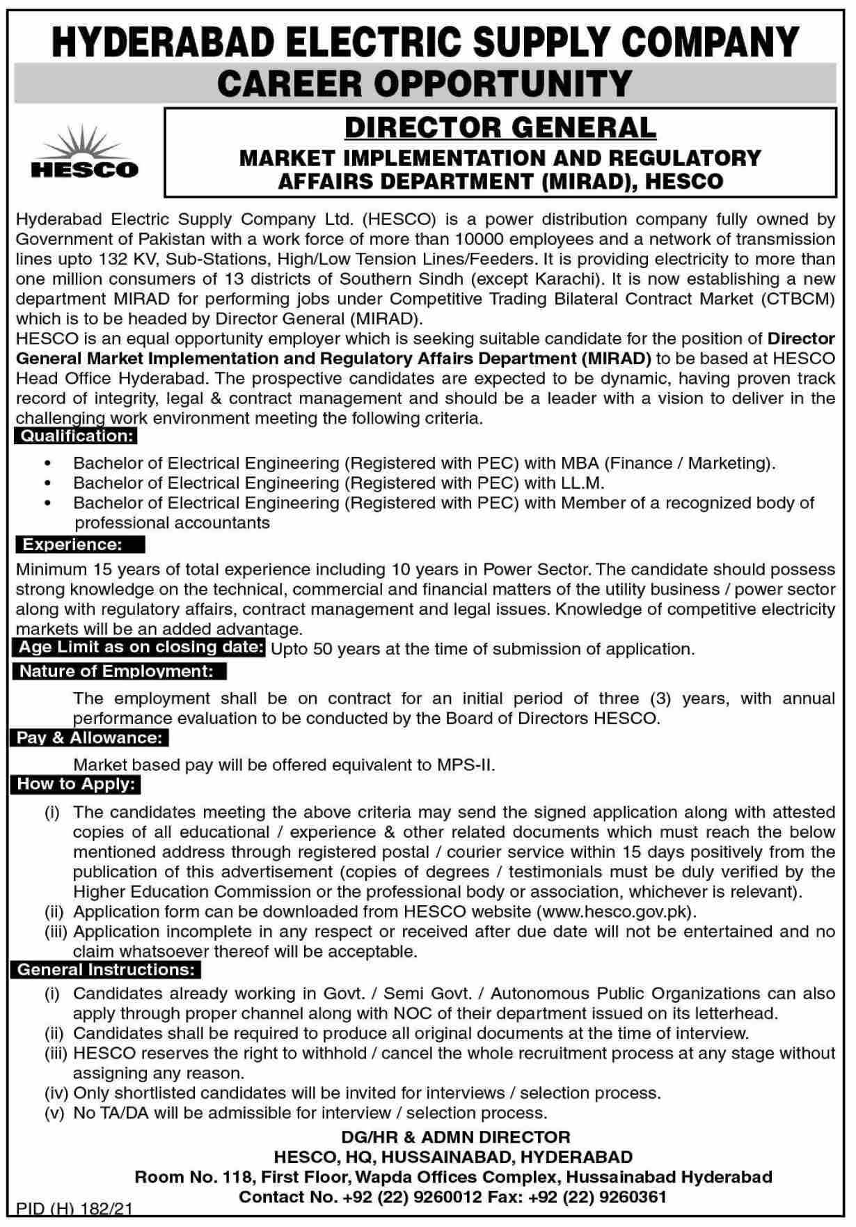 HESCO Jobs 2021 Hyderabad Electric Supply Company
