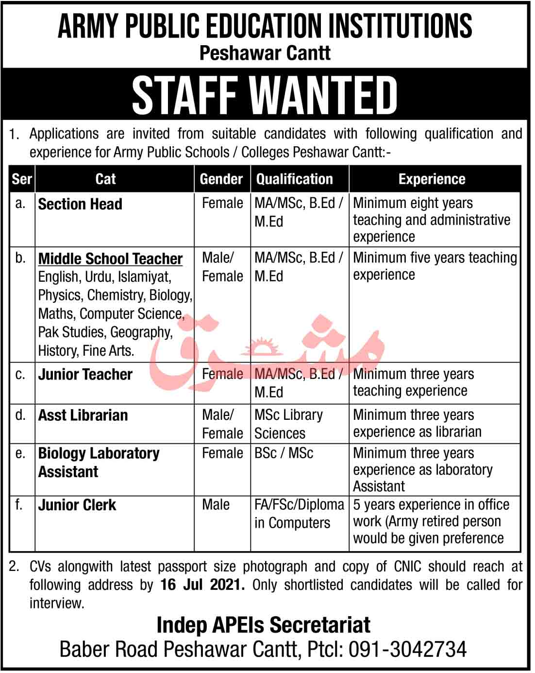 Jobs in Army Public Education Institutions Peshawar Cantt July 2021