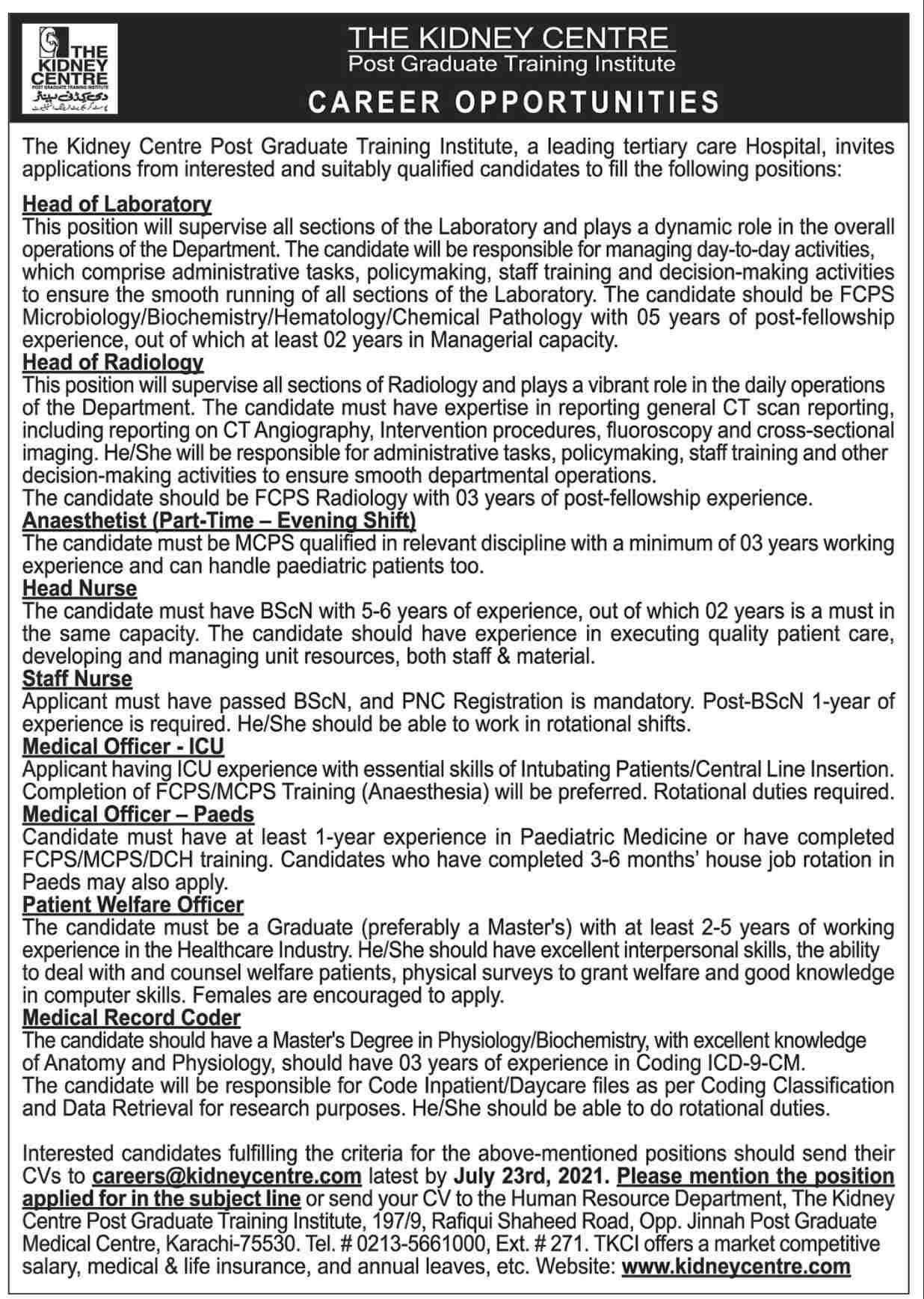 Kidney Center Post Graduate Training Institute Jobs in Karachi 2021