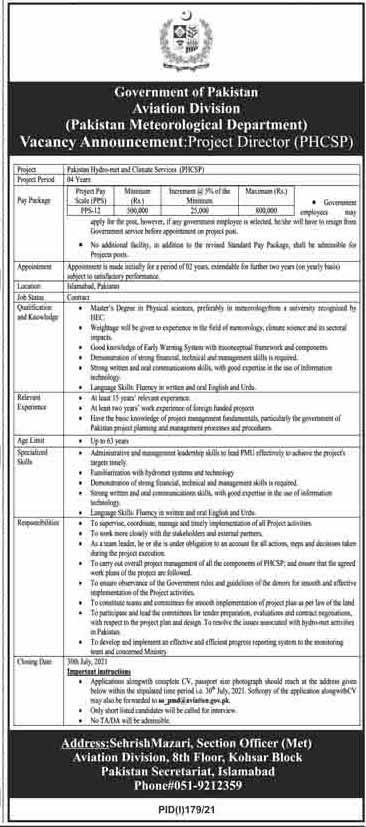 Pakistan Meteorological Department Jobs July 2021